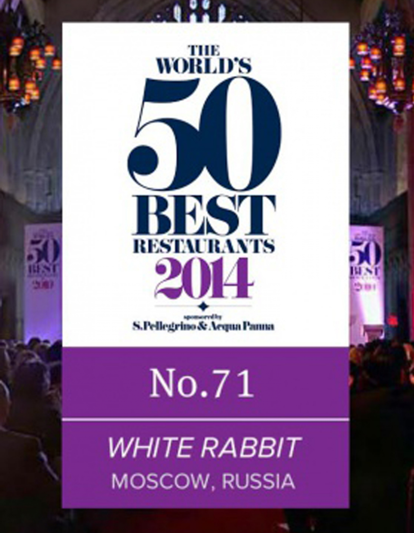 WHITE RABBIT MOSCOW AMONG THE 100 BEST RESTAURANTS OF THE WORLD