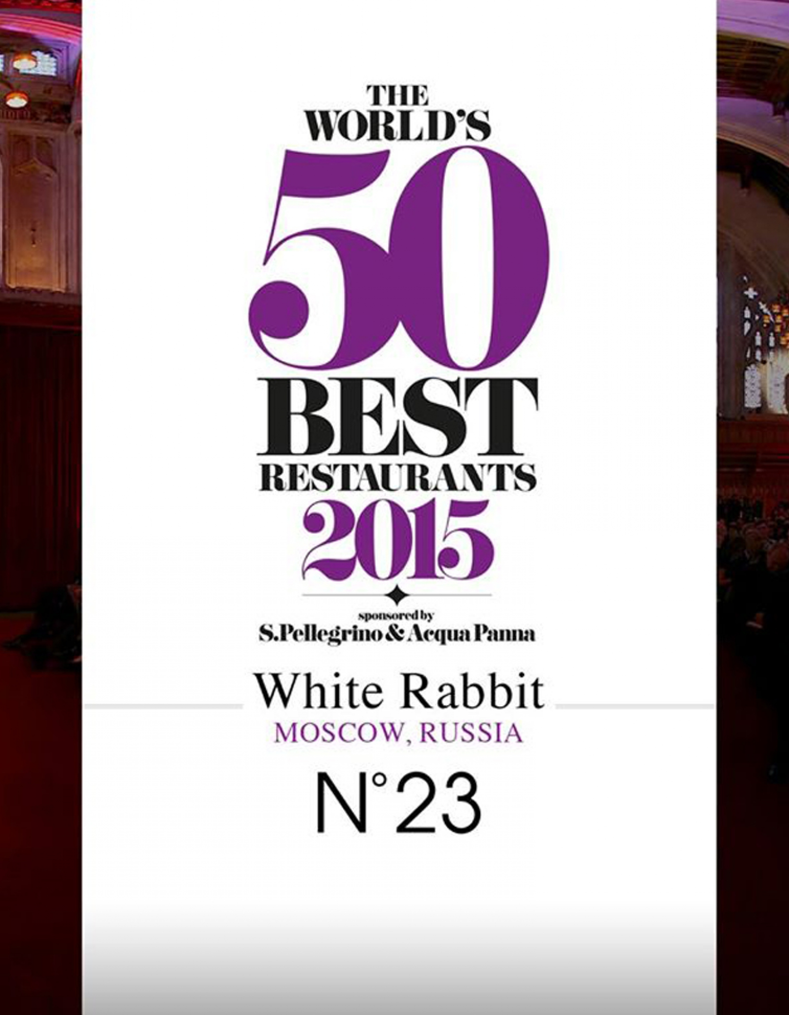 WHITE RABBIT RESTAURANT: NUMBER 23 IN THE WORLD'S 50 BEST RESTAURANTS!