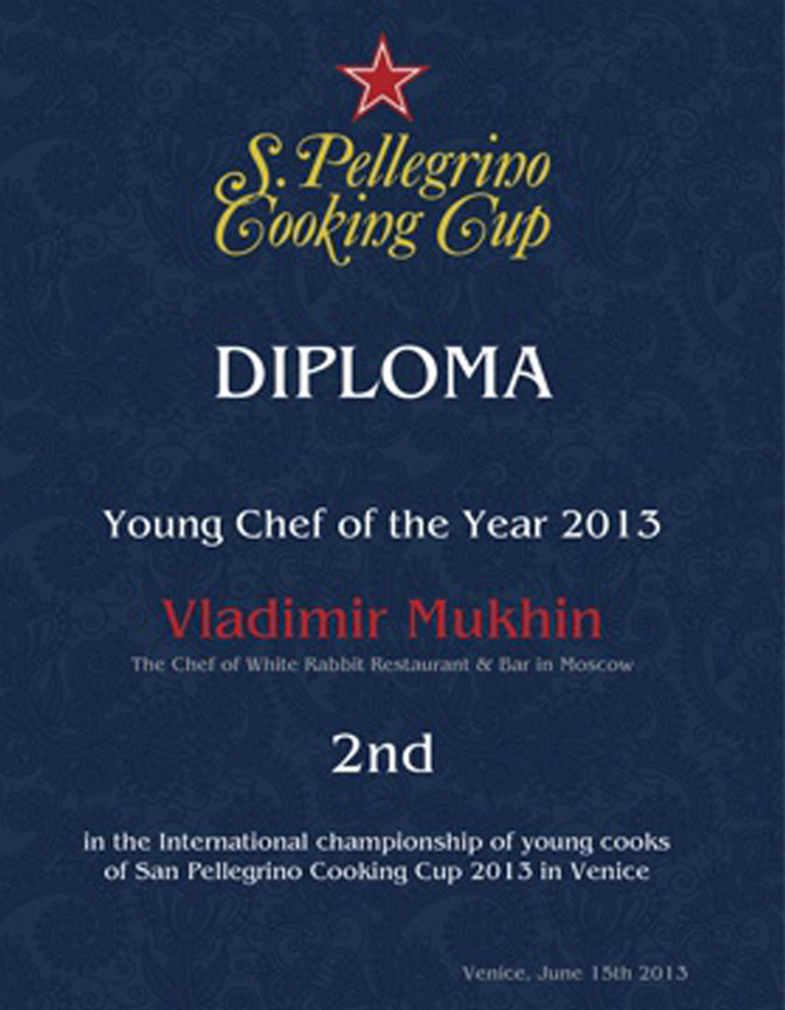 VLADIMIR MUKHIN - THE VICE-CHAMPION OF S. PELLEGRINO COOKING CUP 2013